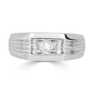 Men's Diamond Stone Ring - Solitaire Diamond Men's Ring In White Gold