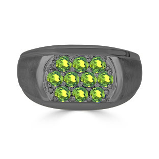 Peridot Men's Ring - Men's 10 Stone Peridot Ring In Black Gold