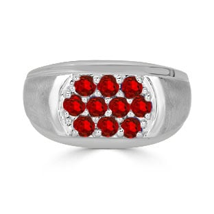 Ruby Men's Ring - Men's 10 Stone Ruby Ring In Sterling Silver