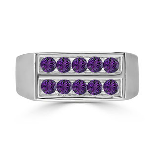 Mens Amethyst Stone Ring - 10 Stone Amethyst Men's Ring In White Gold