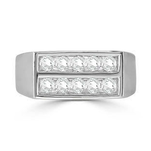 Mens Diamond Stone Ring - 10 Stone 1CT Diamond Men's Ring In Silver