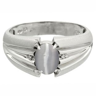 Men's Oval Cut Grey Cat Eye Stone Diamond White Gold Ring