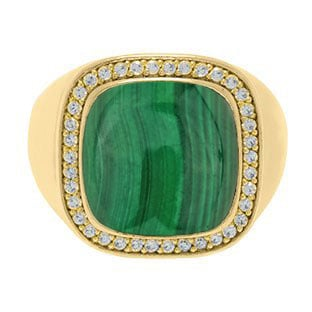 Mens Big Malachite Diamond Signet Ring In Yellow Gold By Gemologica