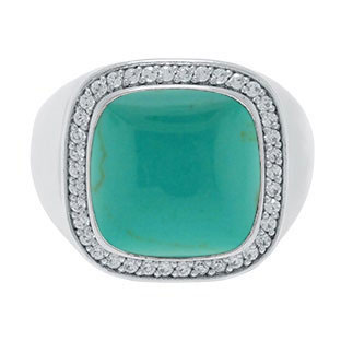 Mens Big Turquoise Diamond Signet Ring In Sterling Silver By Gemologica