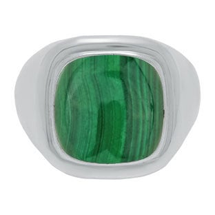 Mens Big Malachite Stone Signet Ring In White Gold By Gemologica