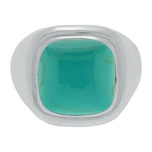 Mens Big Turquoise Stone Signet Ring In White Gold By Gemologica