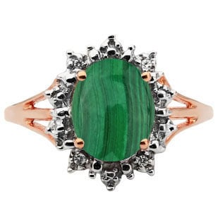 Diamond Oval Malachite Gemstone Rose Gold Starburst Ring by Gemologica