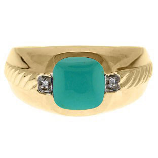 Men's Turquoise Diamond Accent Ring In Yellow Gold By Gemologica