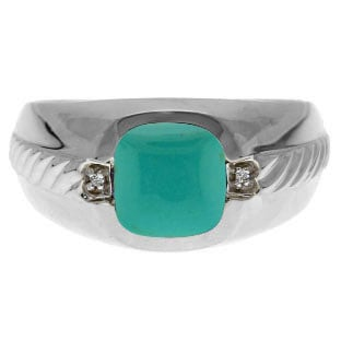 Men's Turquoise Diamond Accent Ring In Sterling Silver By Gemologica