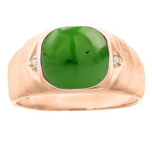 Men's Diamond Antique Cut Jade Ring In Rose Gold By Gemologica