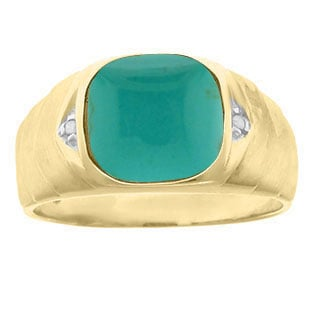 Men's Diamond Antique Cut Turquoise Ring In Yellow Gold By Gemologica