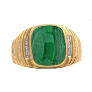 Yellow Gold and Diamond Mens Malachite Ring by Gemologica