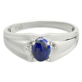 Men's White Gold Diamond Cabochon Cut Lapis Stone Ring