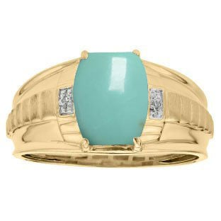 Cushion Cut Turquoise Gemstone Diamond Men's Ring In Yellow Gold By Gemologica