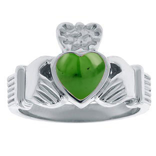 Jade Birthstone Heart Irish Claddagh Symbol Mens Wedding Ring White Gold