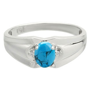 Men's White Gold Diamond Cabochon Cut Turquoise Stone Ring