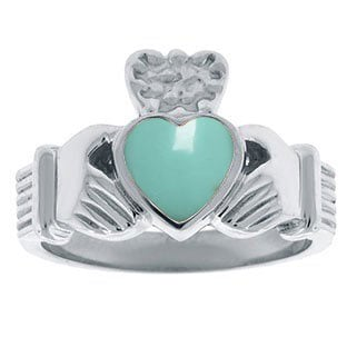 Turquoise Birthstone Heart Irish Claddagh Symbol Mens Wedding Ring White Gold