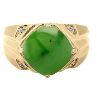 Large Diamond and Gold Men's Jade Ring By Gemologica