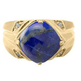 Large Diamond and Gold Men's Lapis Ring By Gemologica