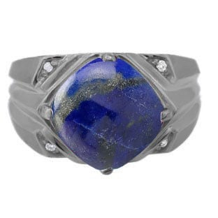 Large Diamond and Black Gold Men's Lapis Ring By Gemologica