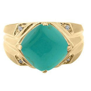 Large Diamond and Gold Men's Turquoise Ring By Gemologica