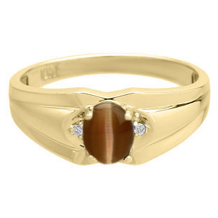 Mens Ring With Cabochon Cut Brown Cat Eye Stone Diamonds In Yellow Gold