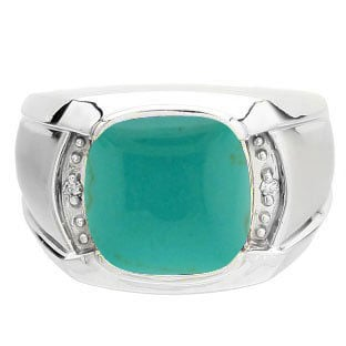 Big Men's Diamond Cushion Cut Turquoise Sterling Silver Ring By Gemologica