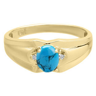 Mens Ring With Cabochon Cut Turquoise Stone Diamonds In Yellow Gold