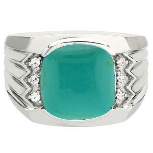 Large Men's Cushion Cut Turquoise Diamond Silver Ring by Gemologica