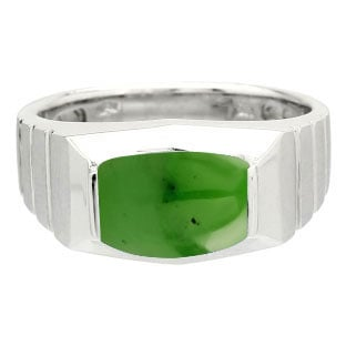Barrel-Cut Jade Stone Ring For Men In Silver By Gemologica