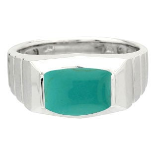 Barrel-Cut Turquoise Stone Ring For Men In Silver By Gemologica