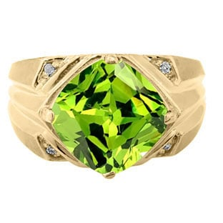 Large Diamond and Gold Men's Antique Cushion Cut Peridot Ring