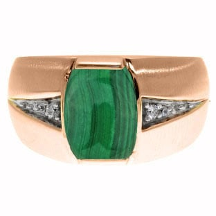 Custom Made Men's Barrel Cut Malachite Diamond Ring In Rose Gold by Gemologica