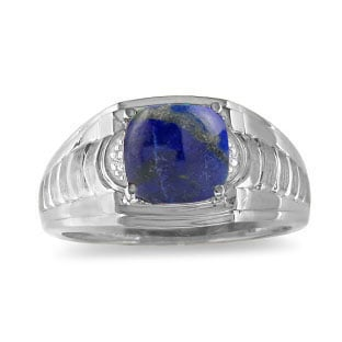 Cushion Cut Lapis & Diamond Men's White Gold Ring By Gemologica
