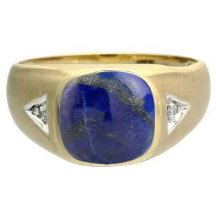 Antique Cushion Lapis Gemstone Diamond Mens Yellow Gold Ring By Gemologica