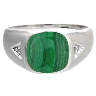 Antique Cushion Malachite Gemstone Diamond Mens White Gold Ring By Gemologica