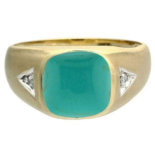 Antique Cushion Turquoise Gemstone Diamond Mens Yellow Gold Ring By Gemologica