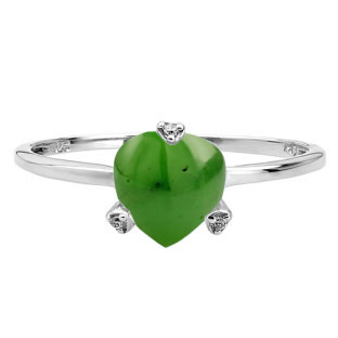 Simple Heart Shaped Jade Diamond White Gold Ring by Gemologica