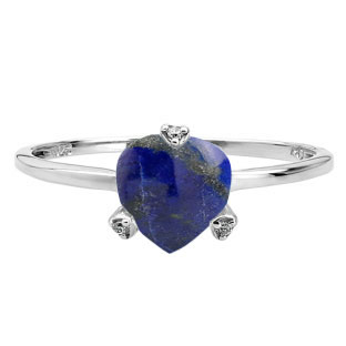 Simple Heart Shaped Lapis Diamond Silver Ring by Gemologica