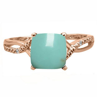 Rose Gold Cushion-Cut Turquoise Diamond Ring by Gemologica Jewelry