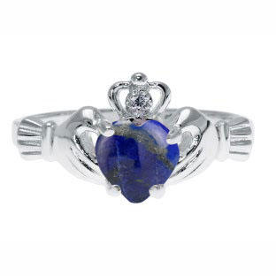 White Gold Diamond Lapis Birthstone Heart Irish Claddagh Ring