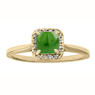 Jade Gemstone Diamond Halo Ring In Yellow Gold by Gemologica Jewelry