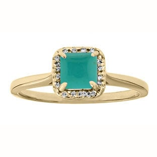 Turquoise Gemstone Diamond Halo Ring In Yellow Gold by Gemologica Jewelry