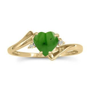 Diamond Heart Shaped Jade Birthstone Yellow Gold Ring By Gemologica
