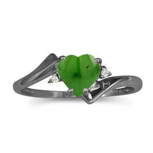 Diamond Heart Shaped Jade Birthstone Black Gold Ring By Gemologica