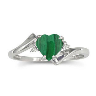 Diamond Heart Shaped Malachite Birthstone Silver Ring By Gemologica