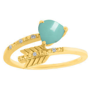 Diamond Turquoise Birthstone Heart Arrow Ring In Yellow Gold By Gemologica