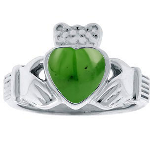 Jade Birthstone Heart Irish Claddagh Symbol Wedding Ring In Silver