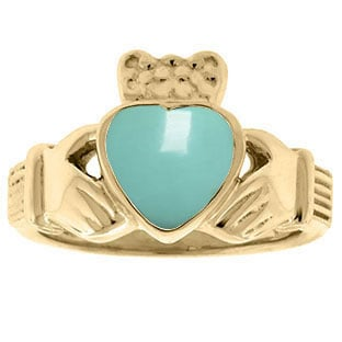 Turquoise Birthstone Heart Irish Claddagh Symbol Wedding Ring In Yellow Gold