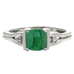 Simple Cushion Cut Malachite Stone Diamond Silver Ring by Gemologica